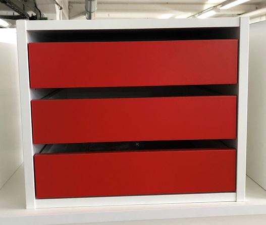 Lådinsats 3 lådor vit röd